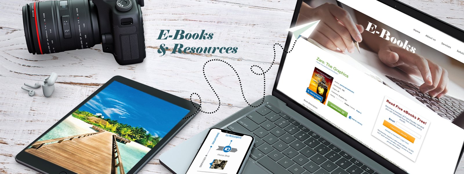 Distinctive e-books, professional resources and eye-catching photos for sale